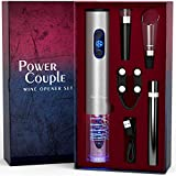 Electric Wine Opener Set and Air Pressure Cordless Wine Opener with Charger and Batteries Gift Set - Power Couple Wedding Anniversary Birthday Gift Kit with Foil Cutter Uncle Viner