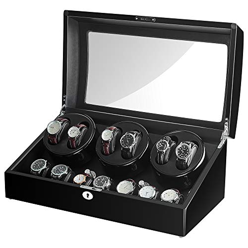 Sepano Six Automatik-Uhrenbeweger mit 7 zusätzlichen Speicherplätzen,japanischem Mabuchi-Motor,großem Fassungsvermögen,100% handgefertigt,beige PU-Weichkissen
