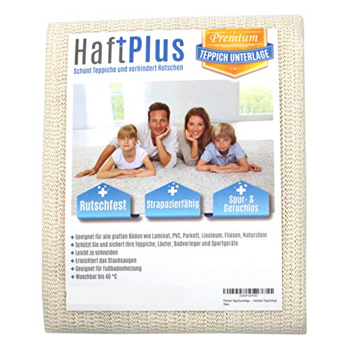 HaftPlus - Teppichunterlage, Antirutschmatte - Haftet ohne zu kleben, rutschfest und zuschneidbar, Größe 140 x 200 cm