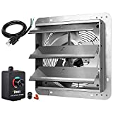 iPower HIFANXEXHAUST12CTB 12 Inch Variable Shutter Exhaust Fan with Speed Controller and Power Cord Kit, 1620RPM, 1600 CFM, Silver