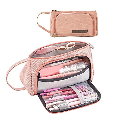Astuccio Grande Capacit per matite,stuccio per matite in lino,Borsa per matite di Borsa per cancelleria,Astuccio per cancelleria cosmetici per ragazze (rosa)