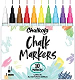 1mm Extra Fine Tip Chalk Markers (10 Pack) Neon Color Chalk pens | Non-Toxic, Wet Wipe | For Blackboards, Chalkboard, Window, Glass, Bistro Menu