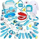 Buyger 35 Piezas Maletin Medicos Juguete Disfraz de Medicos Doctora Accesorios Cosplay Juguetes Cumpleaños Regalos para Niñas Ninos 3 4 5 6 Años (Azul)