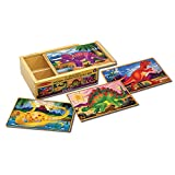 Melissa & Doug Dinosaur Jigsaw Puzzles in a Box (Four Wooden Puzzles in Wooden Storage Box, 12 Pieces, Great Gift for Girls and Boys - Kids Dinosaur Toy Best for 3, 4, 5, and 6 Year Olds)