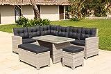 Backyard Furniture Barcelona Luxury 10 Seater Casual Dining Rattan Garden Set with Cushions, Grey, 191 x 177 x 87 cm