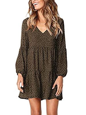 Deep v neckline with lantern long sleeve/short sleeve/sleevelesss, super sexy, fashionable and elegant. Pleated loose swing dress with tunic length, solid color/Polka Dot/ Printed, ruffle, simple and plain, can be easily dress up and dress down. Abov...