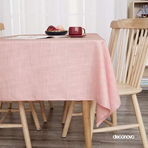 Deconovo Lotuseffekt Tischwäsche Wasserabweisend Leinenoptik Tischdecke Tischtuch 130x160 cm Rosa