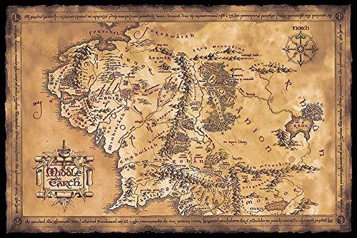 Poster Le Seigneur des Anneaux Carte de la Terre du Milieu (Dark) (91,5cm x 61cm) + un poster surprise en cadeau!