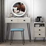 Vlsrka Vanity Set, Makeup Dressing Table with Round Lighted Mirror, Bedroom White Dresser Writing Desk with 2 Large Drawers, Storage Cabinet, 3 Color Dimming Mirror, Cushioned Stool for Women Girl