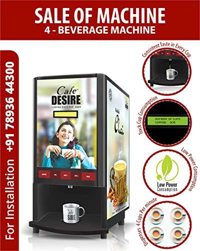 Cafe DESIRE I DRINK SUCCESS Coffee Machine 4 Lane | Fully Automatic Tea & Coffee Vending Machine |...