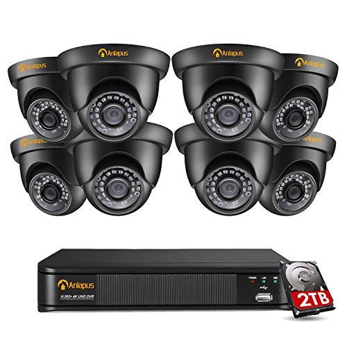 Anlapus 4K Video Surveillance Kit 8 Canales 8MP DVR Grabadores de video con 8 cámaras de vigilancia al aire libre, alarma de movimiento, visión nocturna por infrarrojos, disco duro de 2TB