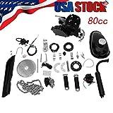 Full Set Bicycle Engine Kit 2 Stroke Gas Motorized Bike Motor Kit 80cc Petrol Gas Motor Engine Set for Motorized Bike (Shipped from US) (Black, 80cc)
