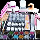Acrylic Nail Kit Set Professional Acrylic with Everything for Beginners Acrylic Powder Set with Glitter Powder False Tips Nail Art Rhinestones Decoration Acrylic Nail Brush Manicure Tools Nail Kit