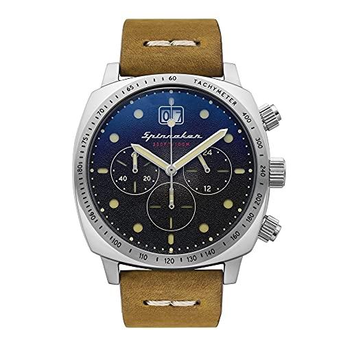 Herren-Armbanduhr Spinnaker Hull Chronograph Datum, rundes Gehäuse, Edelstahl, schwarzes Zifferblatt, braunes Lederarmband SP-5068-01