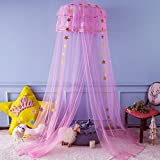 Twinkle Star Kids Netting Princess Bed Canopy 3 Layers Lace Ruffle Dome for Baby, Girls (Pink)