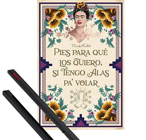 1art1® Póster + Soporte: Frida Kahlo Póster (91x61 cm) Pies para Que Los Quiero, Si Tengo Alas Pa Volar Y 1 Lote De 2 Varillas Negras