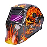 GEORGES Masque de soudage solaire automatique avec protection UV et grande fenêtre de visualisation pour tous les types de soudure Burning Skull (1601-A)