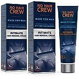 2 x NO HAIR CREW Crème dépilatoire intime pour hommes, extra douce - Set...