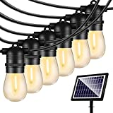 48FT Solar String Lights Outdoor - Shatterproof Vintage Edison Bulbs & 4 Light Mode Weatherproof Strand -LED String Lights Solar Patio Lights for Backyard Patio Porch Café