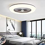 LED Fan Plafonnier Moderne Nordique Dimmable Ventilateur Au Plafond Avec Lampe...