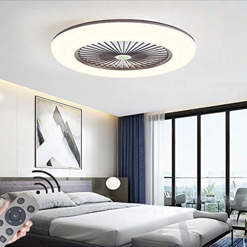 LED Fan Plafonnier Moderne Nordique Dimmable Ventilateur Au Plafond Avec Lampe Ultra-Mince Invisible 32W Lustre De Ventilateur Ultra Silencieux Chambre Salon Fan Lumière Éclairage(Ø55CM),Marron