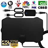 WEWAK Indoor TV Antenna 2020 Digital HDTV Antenna with Amplifier Signal Booster 4K 1080p VHF UHF 120 Miles Range Ultra Thin TV Antenna Freeview Local TV Channels
