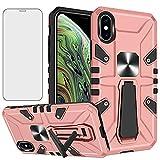 Asuwish iPhone Xs X 10 10s ケース 【1枚保護フィルム】 磁気リング スタンドホルダー 車載ホ……