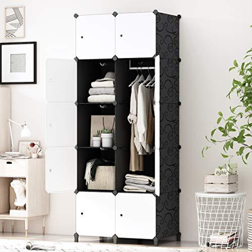 PREMAG fai da te portatile armadio guardaroba, Modular Storage organizzatore, di economia di spazio stanzino, Deeper cubo con Hanging asta 10 cubi
