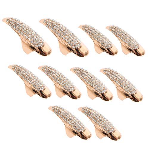 10pcs Halloween False Nail Alloy Gothic Punk Style Talon Claw Paw Finger Rings Cosplay Decoration (3 Sizes)