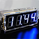 AlumiGogo DIY 4 Digit LED Electronic Clock Kit Large Screen Red Blue LED