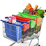 Glotoch Reusable Trolley Bags For Shopping Cart 4 Pack Shopping Cart Bags Reusable Grocery Bags for Trolley Carts Shopping Bags Trolley Bags Grocery Cart Bags for Hot or Cold Groceries Mix Color
