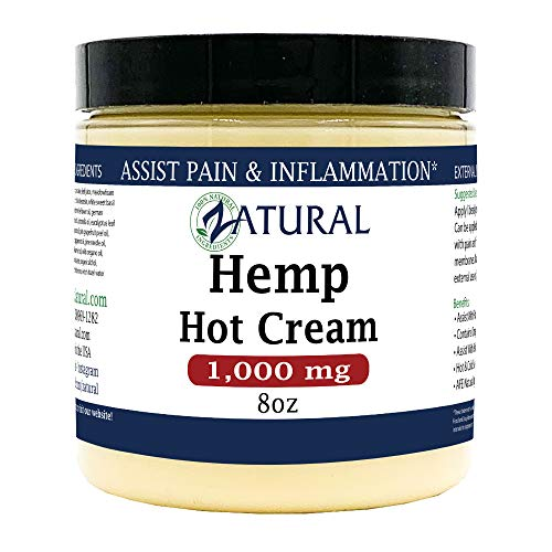 Hemp Hot Cream-Hemp Oil-Organic Hot Cream-Anti Cellulite-Muscle Cream-Pain Support (1,000mg) 1