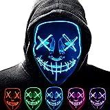 Anxicer Purge Mask para Carnaval,LED Máscara Luminosa Terror y Diversión,3...