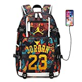 Basketball Player Star Jordan Fans Backpack Students Printing Bookbag USB Charging School Bags Large Travel Laptop Backpacks (c)