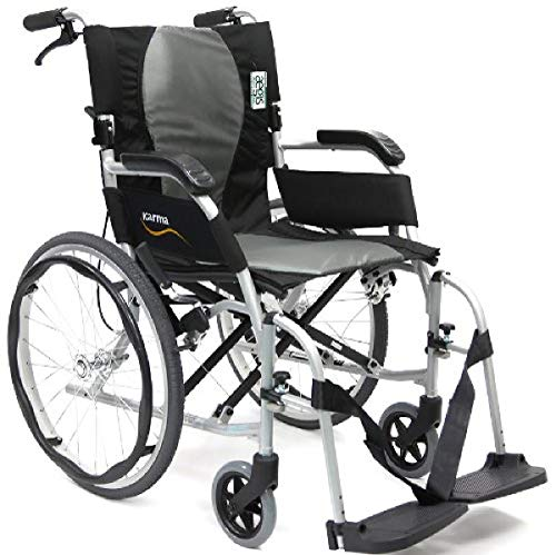 Karman Healthcare 19.8 lbs Ergonomic Ultra Lightweight Wheelchair, Pearl Silver, 18'x17'