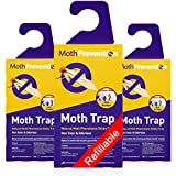 Powerful Moth Traps for Clothes Moths | 3-Pack | Refillable, Odor-Free & Natural from MothPrevention | Best Catch-Rate for Clothes Moth and Carpet Moth Traps on The Market! - Results Guaranteed