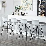 Awonde 30' Swivel Bar Stools with Back Modern Plastic Metal Barstools Set of 4 White