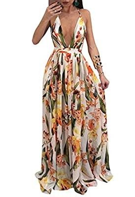 Material: Chiffon and 71%-80% polyester Summer bohemian printed open back lace up swing floor length wedding maxi dresses Occasion: party, club, beach, cocktail, beach, date, holiday, formal and casual Please see size specification in description to ...