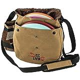 Disc Living Disc Golf Bag | Frisbee Golf Bag | Lightweight Fits Up to 10 Discs | Belt Loop | Adjustable Shoulder Strap Padding | Double Front Button Design | Bottle Holder | Durable Canvas (Brown)