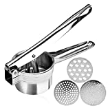 Stainless Steel Potato Ricer – Manual Masher for Potatoes, Fruits, Vegetables, Yams, Squash, Baby Food and More - 3 Interchangeable Discs for Fine, Medium, and Coarse, Easy To Use