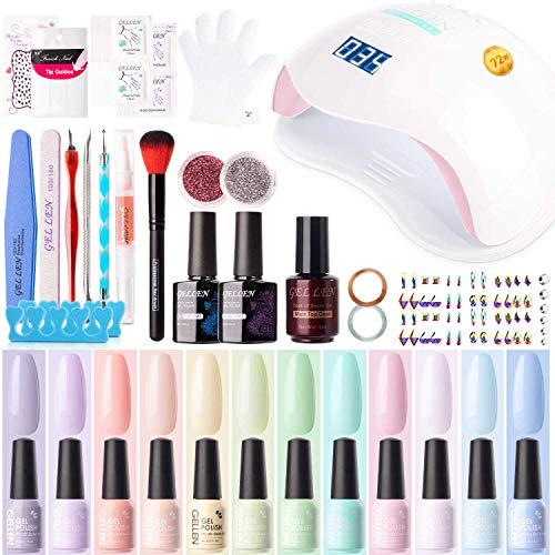 Gellen Gel Nail Polish Kit with U V LED Light 72W Nail Dryer, 12 Gel Nail Spring Summer Colors, No Wipe Top Base Coat, Nail Art Decorations, Manicure Tools, All-In-One Manicure Kit, Macaron Candy