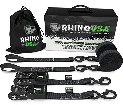 Rhino USA Ratchet Straps Motorcycle Tie Down Kit, 5,208 Break...