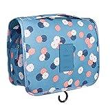 Bolsa de aseo de viaje, plegable, organizador portátil de viaje, organizador portátil, bolsa organizadora para colgar, bolsa de maquillaje de viaje para mujeres y niñas (flor azul)