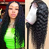 Lace Front Human Hair Wigs Deep Wave Pre Plucked 150% Density Remy Human Hair Deep Curly Wig 13×4 Lace Frontal Wig Curly Wigs with Baby Hair Lace Front Wigs for Black Women 14 Inch