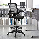 Flash Furniture Mid-Back Black Mesh Ergonomic Drafting Chair with Adjustable Foot Ring and Flip-Up Arms