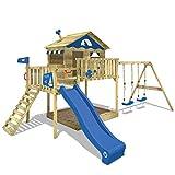WICKEY Parco giochi in legno Smart Coast Giochi da giardino con altalena e scivolo blu, Casa su palafitte da esterno con sabbiera e scala di risalita per bambini