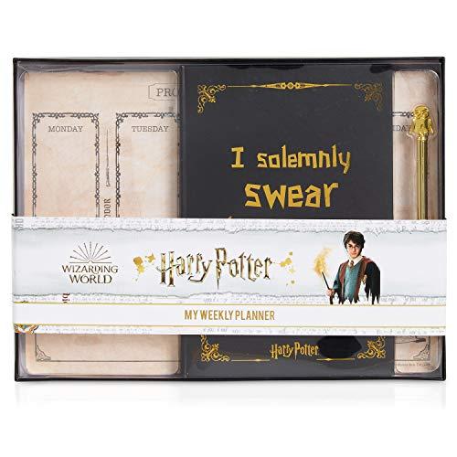 Harry Potter Agenda y Planificador Semanal Sin Fecha, Set de Papelería con Diario Escolar, Planner y Bolígrafo Hedwig, Kit Material Escolar, Merchandising Oficial, Regalos Adolescentes