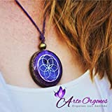 Orgonite necklaces, Seed of Life, Sacred Geometry symbol for EMF protection, handmade, violet color with amethyst, moonstone, rose quartz, resin. wellness, balance, yoga, meditation, Arte Orgones