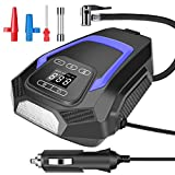 Tire Inflator for Car, 12V DC Portable Air Compressor for Car Tires, Car Tire Pump with Led Light, Digital Air Pump for Car Tires, Bicycles and Others