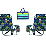 Rio Tommy Bahama Backpack Cooler Chair Bundle (Pineapple) with Camco Handy Mat